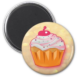 Muffin frambuesa imanes para frigoríficos