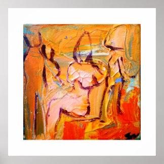 Mujer abstracta en silla póster