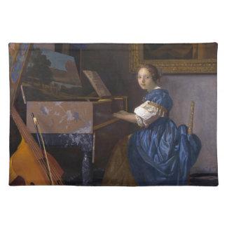 Mujer asentada en un Virginal por Vermeer Mantel