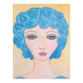 Mujer azul del pelo postal