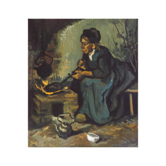 Mujer campesina que cocina por una chimenea impresión en lienzo