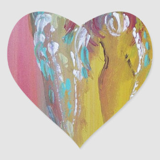 Mujer coa alas pegatina en forma de corazón