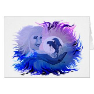 Mujer con delfines en la luz de luna tarjeton