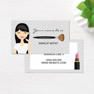 Mujer con el artista de maquillaje largo negro del tarjeta de visita