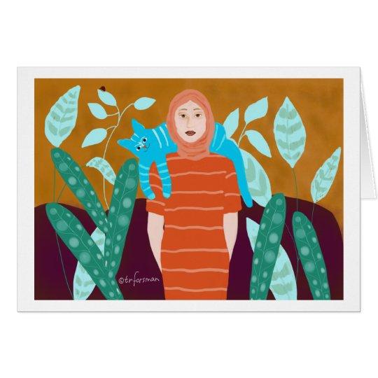 Mujer con el gato en jardín tarjeta de felicitación