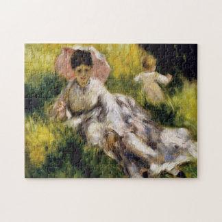 Mujer con la bella arte de Renoir del parasol Puzzle