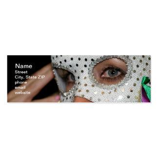 Mujer con la máscara tarjetas de visita mini