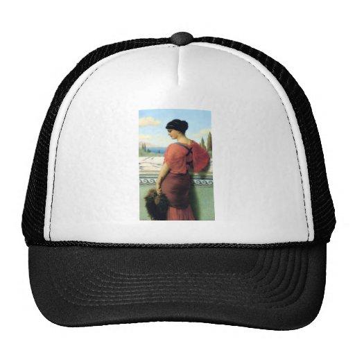Mujer con la pintura de Godward de la fan Gorras