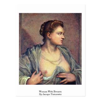 Mujer con los pechos de Jacopo Tintoretto Postal