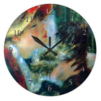 Mujer con su bella arte de Renoir del perro Reloj Redondo Grande