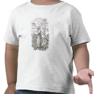 Mujer con un cuervo, al borde de un precipicio camisetas