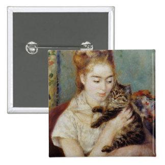 Mujer con un gato de Pierre-Auguste Renoir Chapa Cuadrada