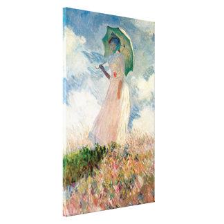 Mujer con un parasol, haciendo frente a la izquier lienzo