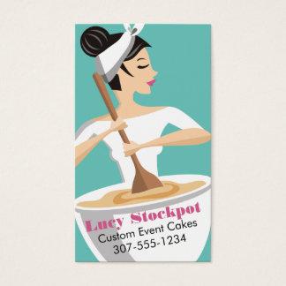 Mujer de encargo de la panadería del color que tarjeta de negocios
