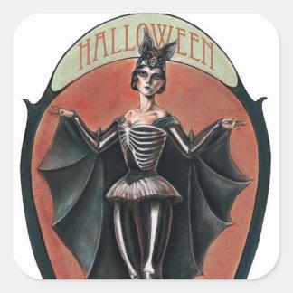 Mujer de Halloween del vintage en pegatina del