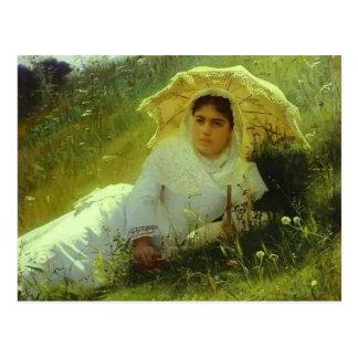 Mujer de Ivan Kramskoy- con un paraguas Postal