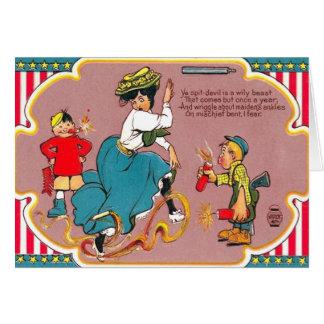 Mujer de la broma de los fuegos artificiales de tarjeta de felicitación