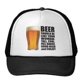 Mujer de la cerveza gorras de camionero