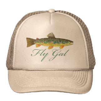 Mujer de la pesca con mosca gorras