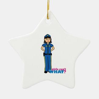 Mujer de la policía - medio adorno navideño de cerámica en forma de estrella