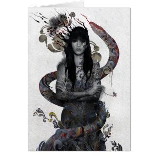 Mujer de la serpiente tarjeta de felicitación