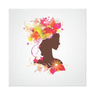 Mujer de la silueta impresión en lienzo