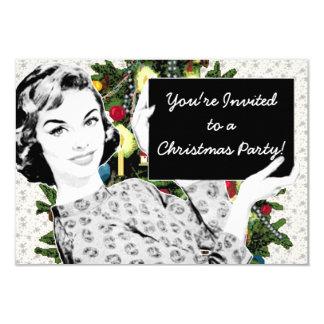 mujer de los años 50 con una muestra del navidad invitación 8,9 x 12,7 cm