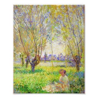 Mujer de Monet asentada bajo bella arte de los Impresiones Fotograficas