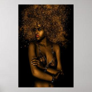 Mujer de oro del Afro Póster