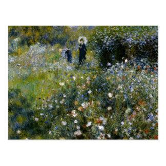 Mujer de Renoir con el parasol en jardín Postal
