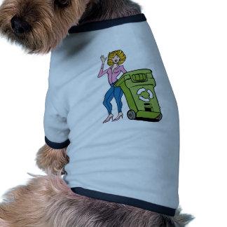 Mujer de Trashcan de la papelera de reciclaje Camiseta Con Mangas Para Perro