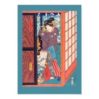 Mujer de Woodblock del japonés del vintage en la Invitación 12,7 X 17,8 Cm