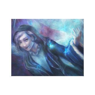 Mujer del arbolado impresión en lienzo