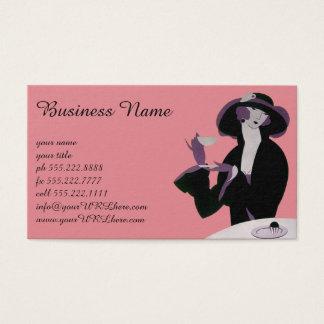 Mujer del art déco del vintage, té de tarde y tarjeta de negocios