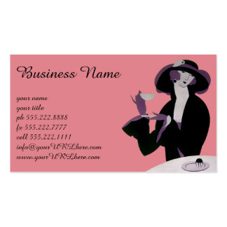 Mujer del art déco del vintage, té de tarde y tarjetas de visita