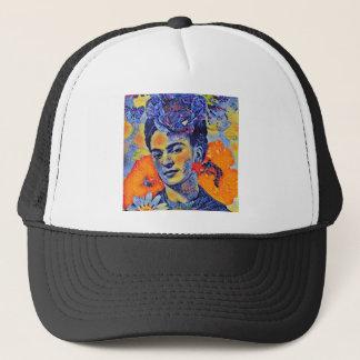 Mujer del artista del mosaico con las flores gorra de camionero
