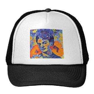 Mujer del artista del mosaico con las flores gorro