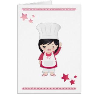Mujer del cocinero de la tarjeta de nota