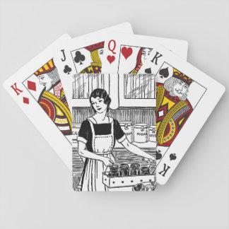 Mujer del ejemplo del vintage en naipe de la baraja de cartas