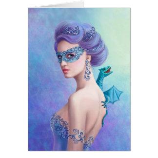 Mujer del invierno de la fantasía de la tarjeta de