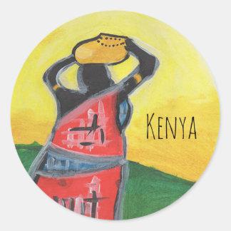 Mujer del Kenyan Pegatina Redonda