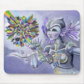 Mujer del robot con un corazón estrellado del cris alfombrilla de ratón