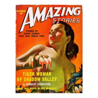 Mujer del tigre postal