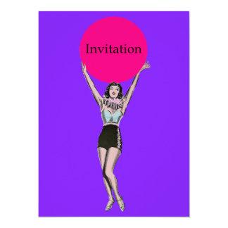 Mujer del vintage - temático retro invita invitación 13,9 x 19,0 cm