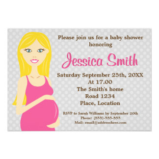 Mujer embarazada del Blonde en fiesta de bienvenid Invitaciones Personalizada