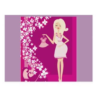 mujer embarazada del blonde postal
