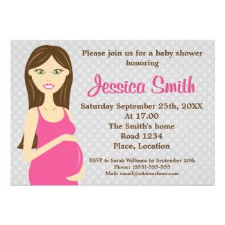 Mujer embarazada del Brunette en fiesta de bienven Anuncios Personalizados