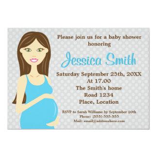Mujer embarazada del Brunette en fiesta de Invitación 12,7 X 17,8 Cm