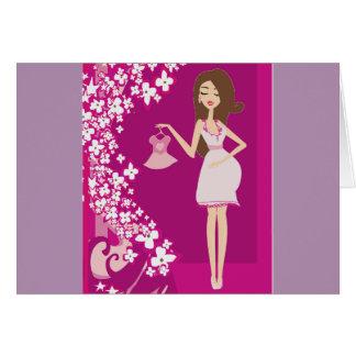 mujer embarazada del brunette tarjeta de felicitación