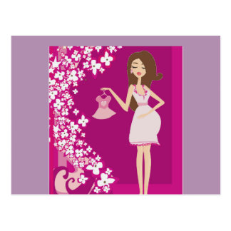 mujer embarazada del brunette postal